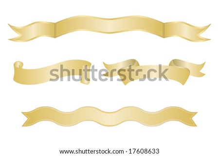Set of blank gold ribbon banners on white background.