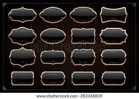 Set of 16 blank golden vintage frame,banner,label,Vector EPS10. - stock vector