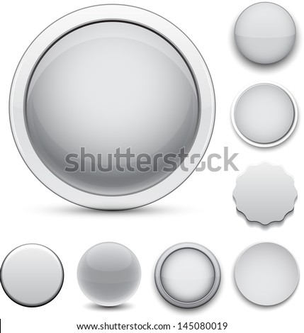 Set of blank grey round buttons for website or app. Vector eps10. - stock vector