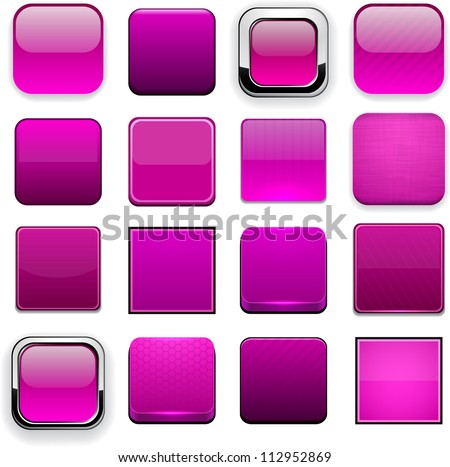 Set of blank magenta buttons for website or app. Vector eps10. - stock vector