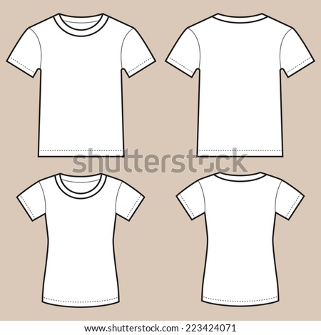 Set of blank male and female shirts- front and back, isolated on light colored background. - stock vector