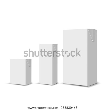 Set of 3 blank milk or juice carton boxes for branding - stock vector