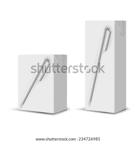 Set of 2 blank milk or juice small carton boxes with straws for branding - stock vector
