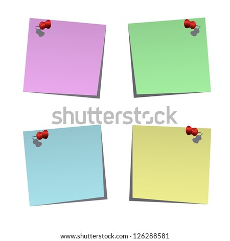 Set of blank notes with push pins, vector illustration
