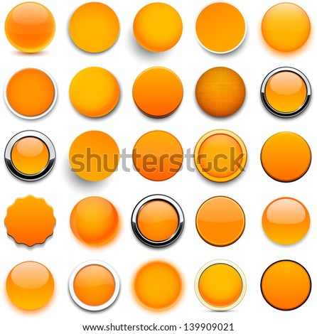 Set of blank orange round buttons for website or app. Vector eps10. - stock vector