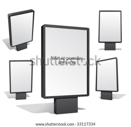 Set of blank outdoor billboards for designers. - stock vector