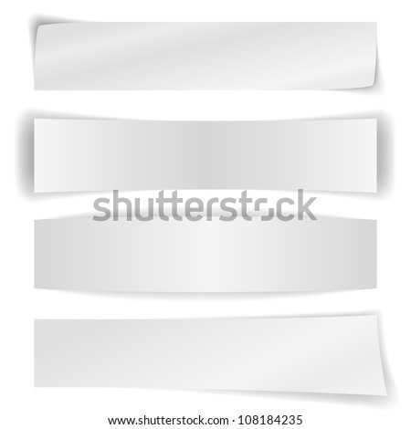 Set of blank paper banners isolated on white background. - stock vector