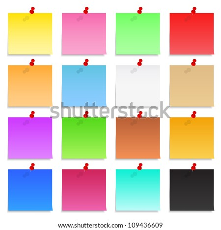 Set of blank post-it notes with push pins, vector eps10 illustration - stock vector