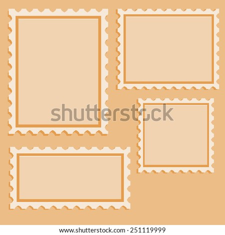 Set of Blank  Postage Stamps for Your Design. Vector Illustration. - stock vector