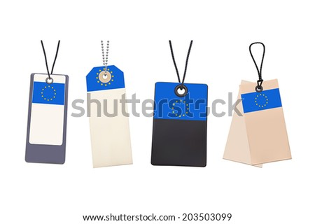 Set of Blank price tags with flag of EU. Photo realistic illustration. Isolated on white.  - stock vector