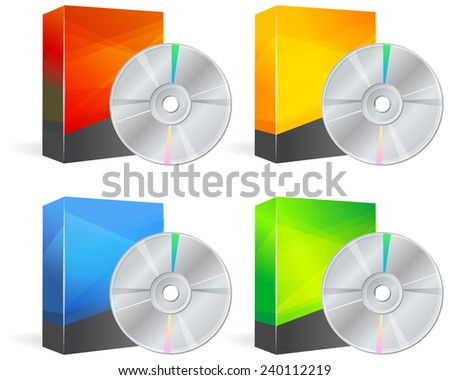 Set of Blank Product Box with Media CD - Illustration - stock vector