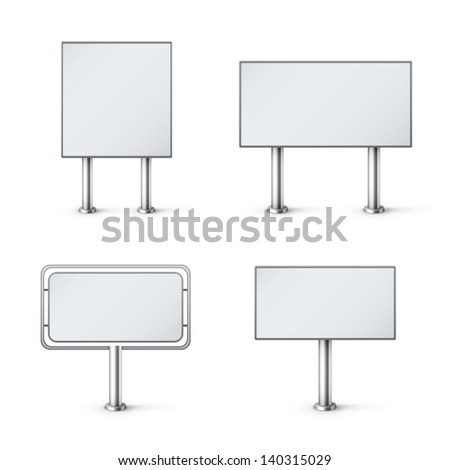 set of blank realistic billboards eps10 vector illustration - stock vector