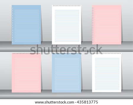 Set of blank realistic spiral notebook, vector illustration - stock vector