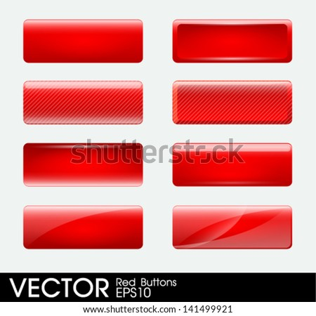 Set of blank red buttons - stock vector