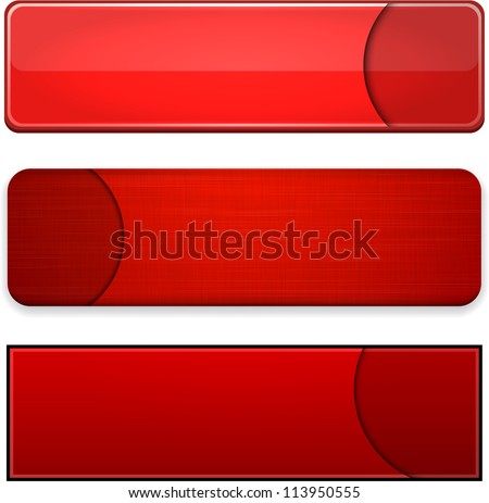 Set of blank red buttons for website or app. Vector eps10. - stock vector
