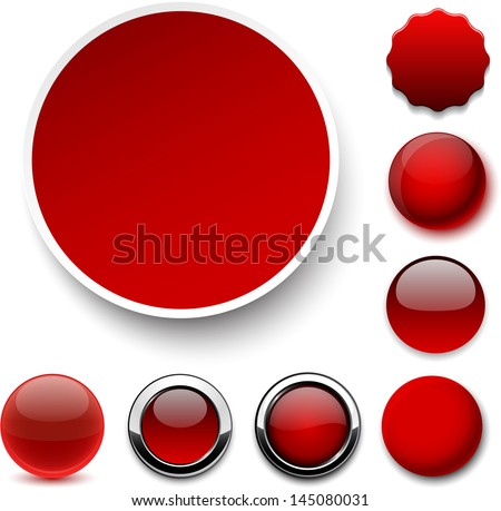 Set of blank red round buttons for website or app. Vector eps10. - stock vector