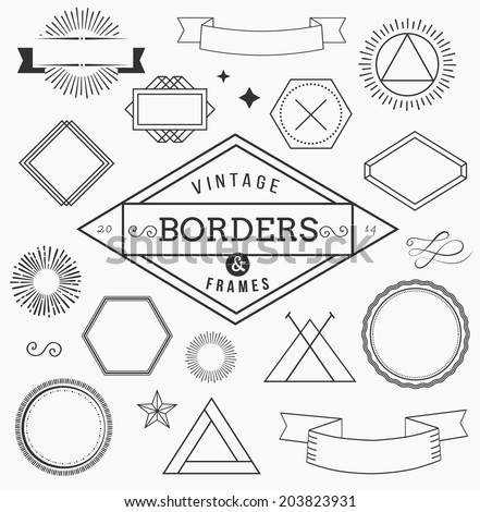 Set of blank retro vintage badges, borders, frames and labels - stock vector