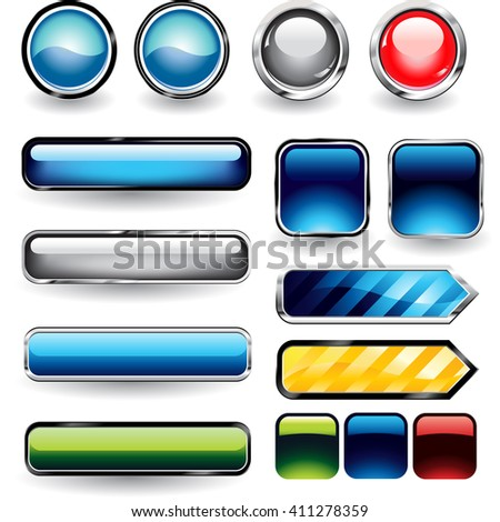 Set of blank round buttons for website or app. - stock vector