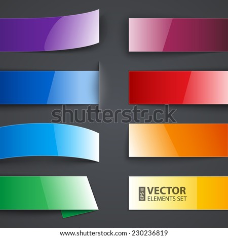 Set of blank shiny colorful paper banners with transparent shadows on gray background. RGB EPS 10 vector illustration - stock vector