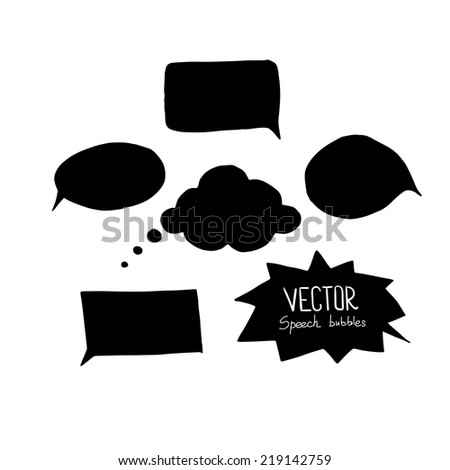 Set of blank speech bubbles with space for text. Hand drawn sketch elements for your design. - stock vector