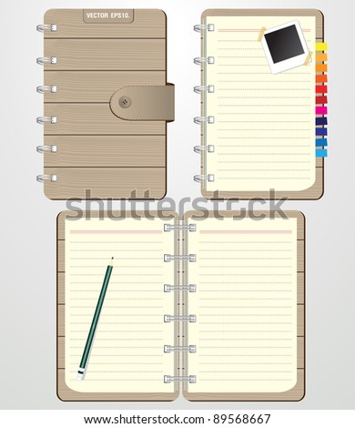 Set of Blank spiral notebook with brown wood front cover. and Keep the pencil, instant photo. Vector template for design work