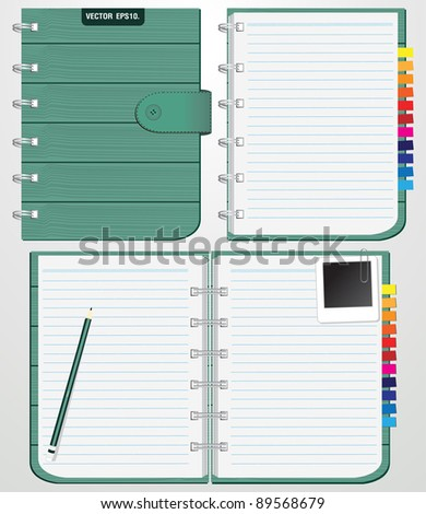 Set of Blank spiral notebook with texture wood retro front cover. and Keep the pencil, instant photo. Vector template for design work