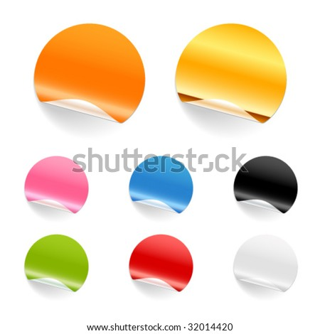 Set of blank stickers. Editable, no mesh. - stock vector