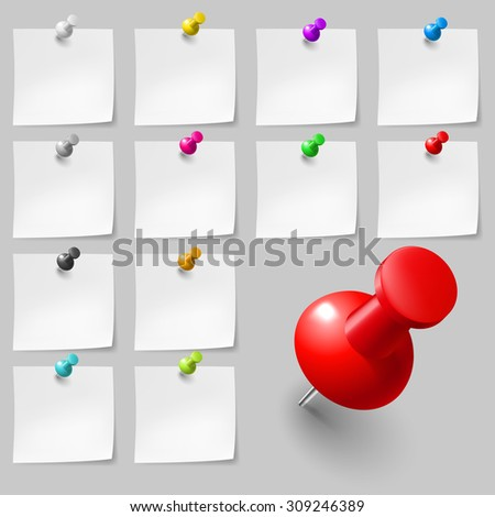 Set of Blank sticky notes with pushpins on gray background - stock vector