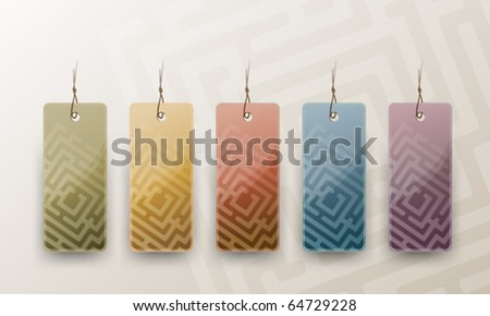 Set of Blank Tags in Different Colors, vector illustration - stock vector