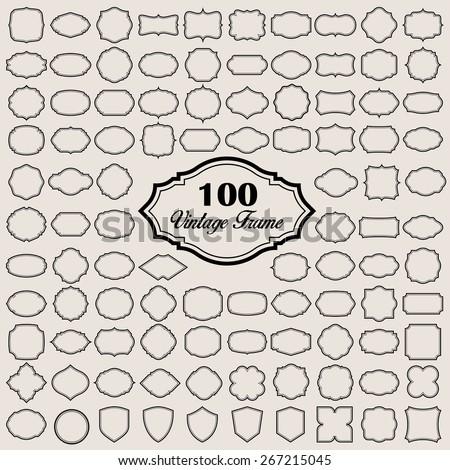 Set of 100 blank vintage frame . Illustration eps10 - stock vector