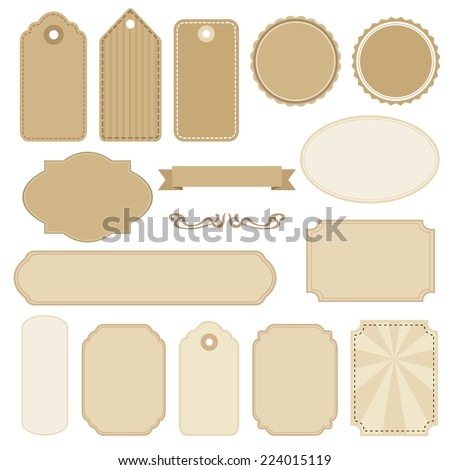 Set of blank vintage frames, tags and labels, isolated vectors - stock vector