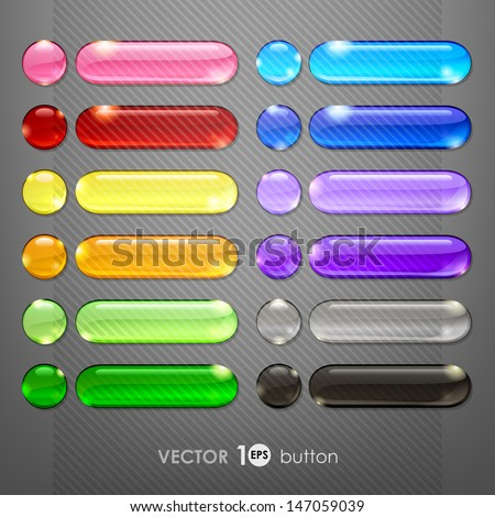 Set of blank web buttons for website or app. Vector eps10.