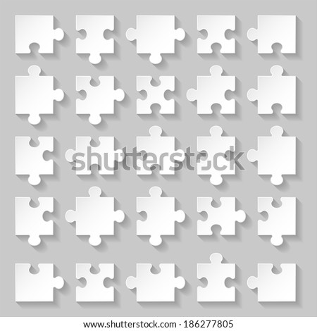 Set of blank white puzzle pieces on grey background - stock vector