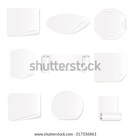 Set of 9 blank white stickers on a white background. Vector illustration - stock vector