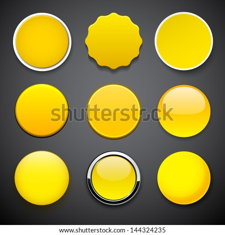 Set of blank yellow round buttons for website or app. Vector eps10. - stock vector