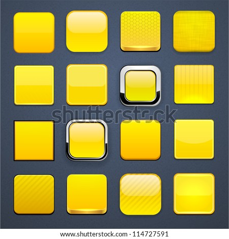 Set of blank yellow square buttons for website or app. Vector eps10. - stock vector