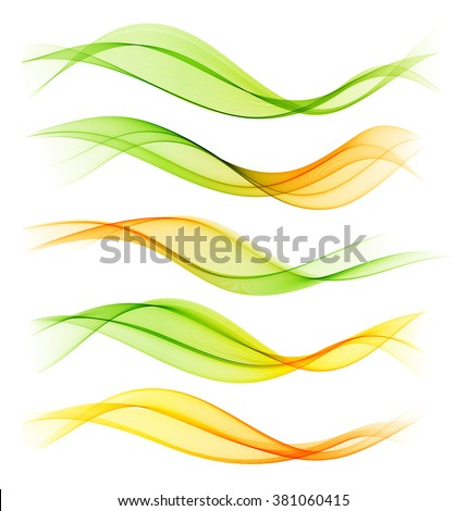 Set of blend abstract wave. Vector wavy smoke lines. Green and orange - stock vector