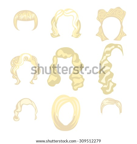 Set of  blond hair styling blonde hairstyles - stock vector