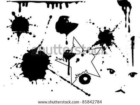 Set of blots and stains. Stains and blots are made by ink on a paper. - stock vector