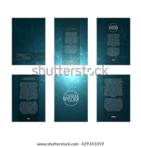 Set of Blue Abstract Mesh Modern Flyers - EPS10 Brochure Design Templates - stock vector