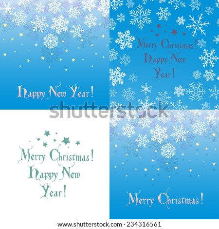Set of  blue backgrounds with snowflakes, shadow and falling stars. Can be used as greeting card for Christmas or New Year. - stock vector