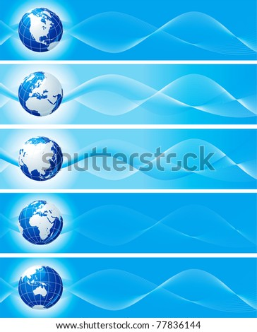 Set of blue banners with globe. Vector abstract  backgrounds with  six view of globes for internet banners - stock vector