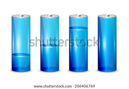 Set of blue batteries isolated on white background, illustration.