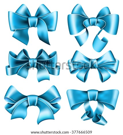 Set of 6 blue bows on white background. Vector illustration - stock vector