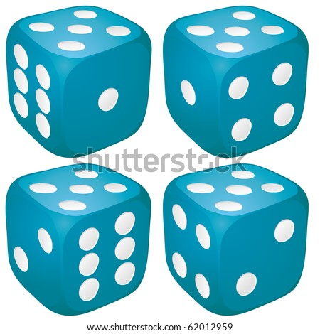 Set of blue casino craps, dices with five points, dots number on top, vector illustration - stock vector