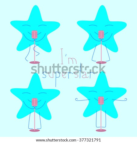 Set of blue colored star with closed eyes and smile with retro microphone and lettering I'm superstar isolated on light blue background. Musical logo template, design element - stock vector