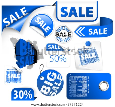 Set of blue discount tickets, labels, stamps, stickers, corners, tags - stock vector