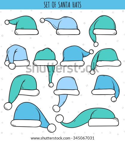 Set of 12 blue doodle hats Santa Claus. Template Christmas hat for design, decorating cards and collages. - stock vector