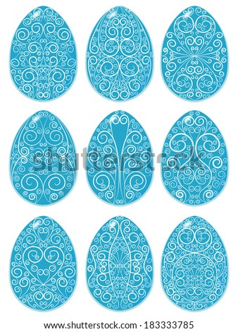 Set of blue Easter eggs with white pattern