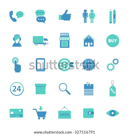 set of blue flat icons for online shopping internet  infographic elements - stock vector